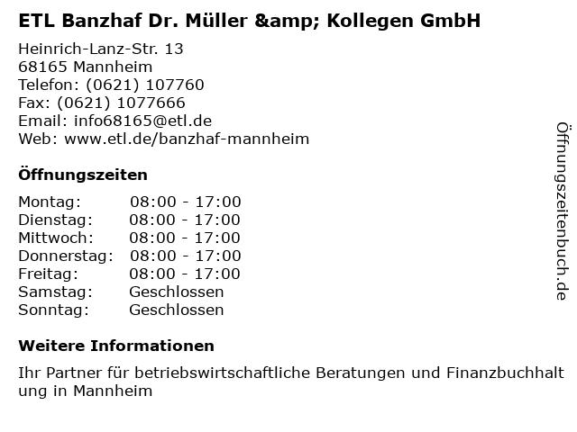 ETL Banzhaf Dr. Müller & Kollegen GmbH in Mannheim: Adresse und Öffnungszeiten