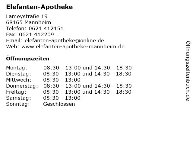 Elefanten-Apotheke in Mannheim: Adresse und Öffnungszeiten