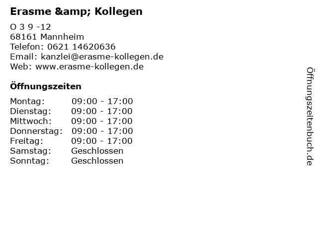 Erasme & Kollegen in Mannheim: Adresse und Öffnungszeiten