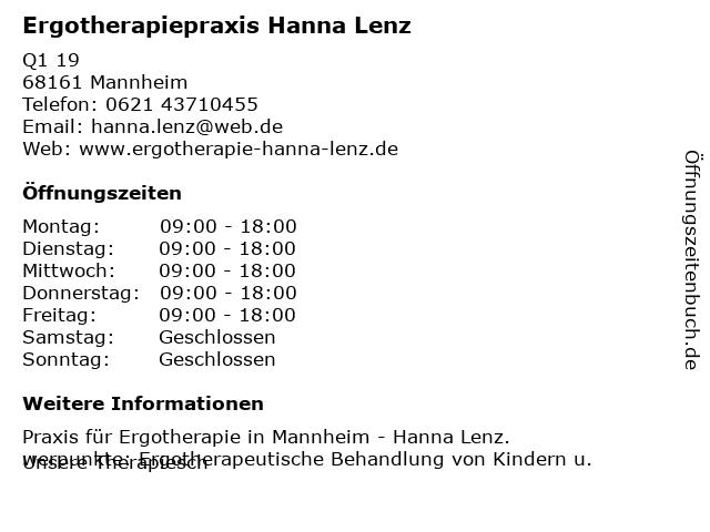 Ergotherapiepraxis Hanna Lenz in Mannheim: Adresse und Öffnungszeiten