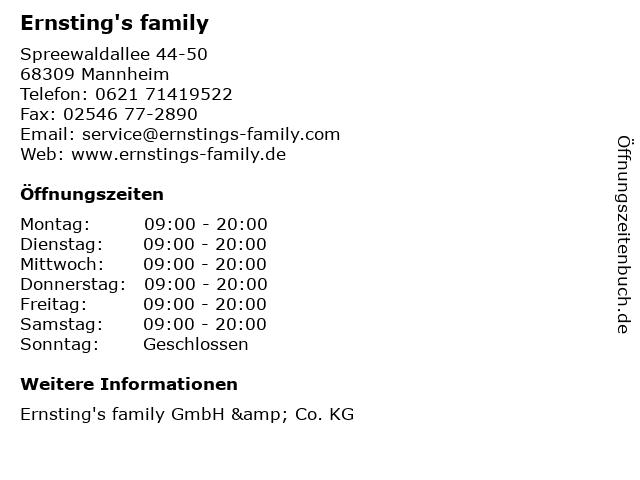 Ernsting's family GmbH & Co. KG in Mannheim: Adresse und Öffnungszeiten