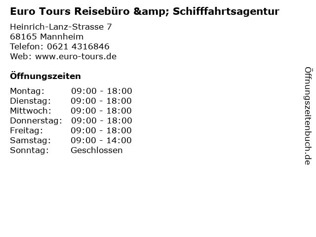Euro Tours Reisebüro & Schifffahrtsagentur in Mannheim: Adresse und Öffnungszeiten