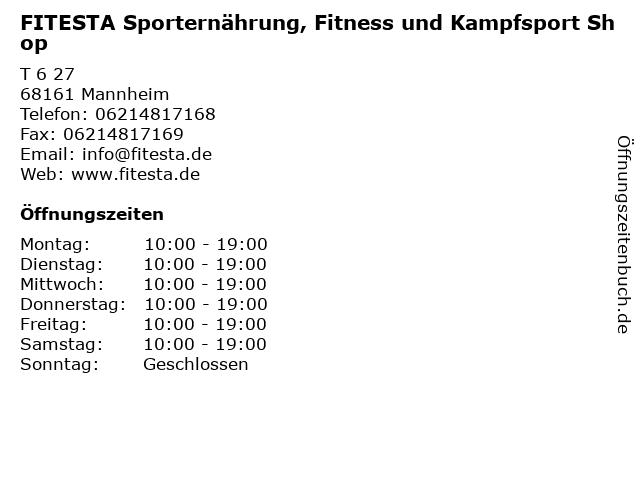 FITESTA Sporternährung, Fitness und Kampfsport Shop in Mannheim: Adresse und Öffnungszeiten