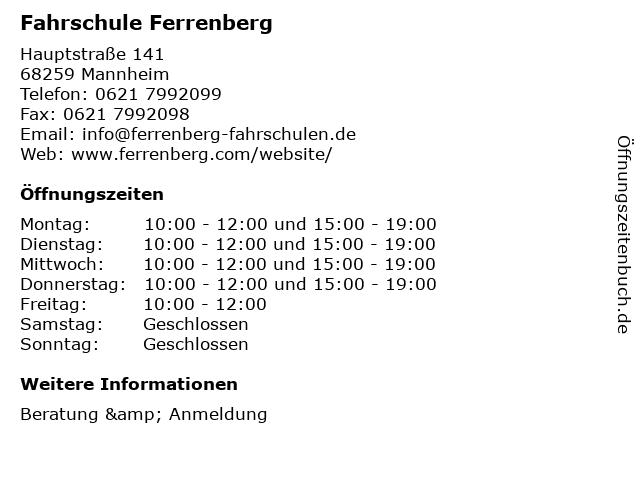 Fahrschule Ferrenberg in Mannheim: Adresse und Öffnungszeiten