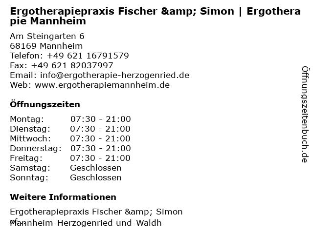 Fischer & Simon Ergotherapiepraxis in Mannheim: Adresse und Öffnungszeiten