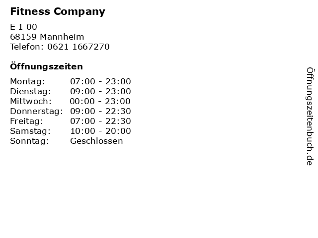 Fitness Company in Mannheim: Adresse und Öffnungszeiten