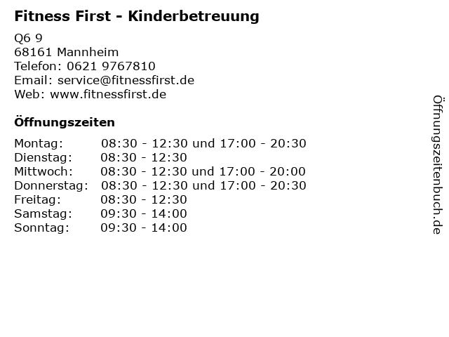 Fitness First - Kinderbetreuung in Mannheim: Adresse und Öffnungszeiten