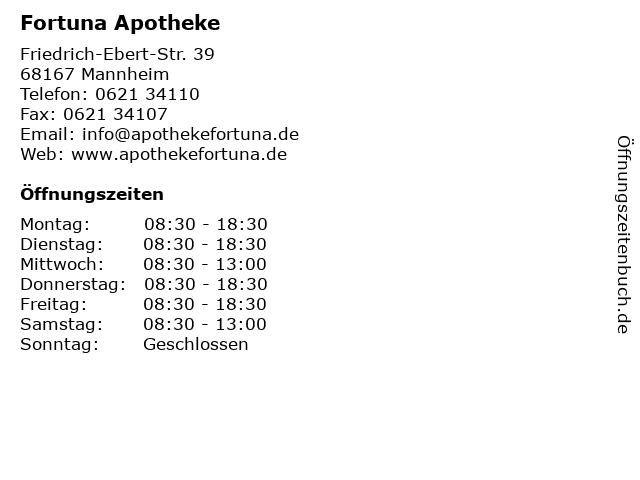 Fortuna Apotheke in Mannheim: Adresse und Öffnungszeiten