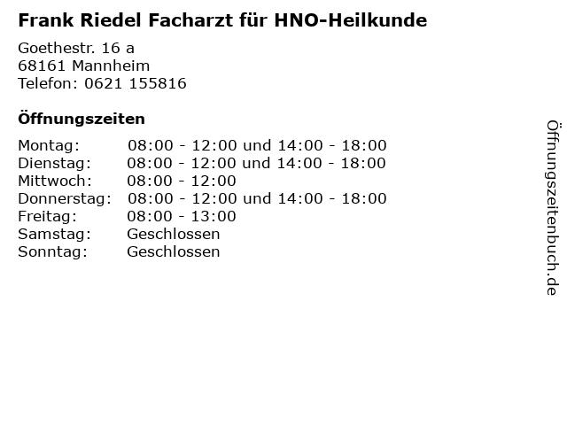 Frank Riedel Facharzt für HNO-Heilkunde in Mannheim: Adresse und Öffnungszeiten