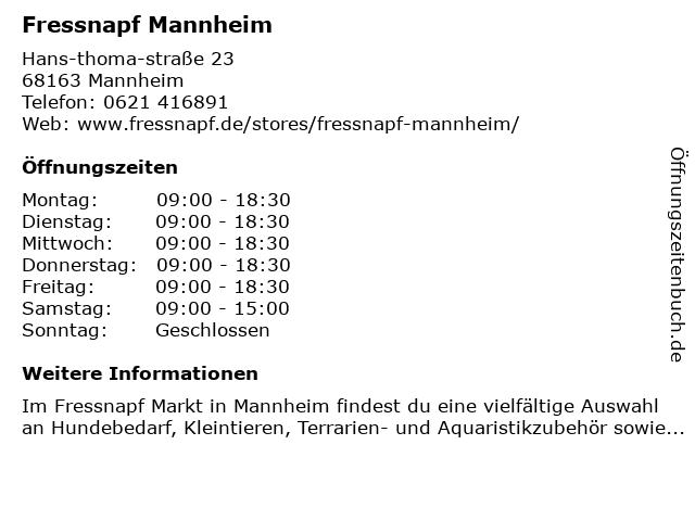 Fressnapf Mannheim in Mannheim: Adresse und Öffnungszeiten