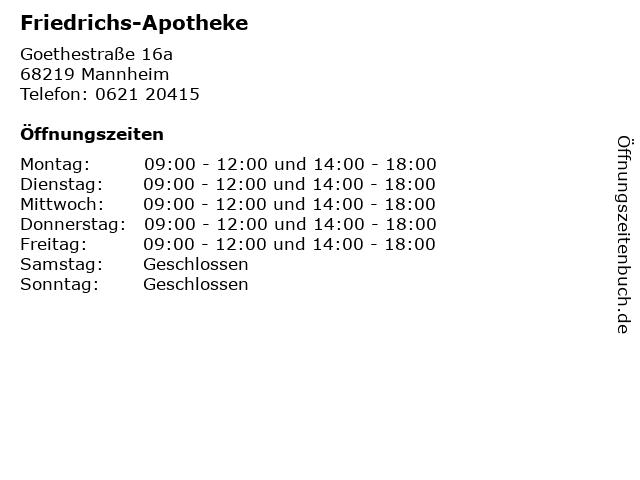 Friedrichs-Apotheke in Mannheim: Adresse und Öffnungszeiten