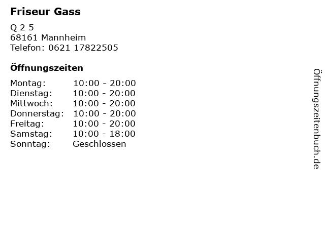 Friseur Gass in Mannheim: Adresse und Öffnungszeiten