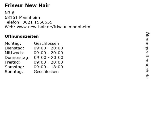Friseur New Hair in Mannheim: Adresse und Öffnungszeiten