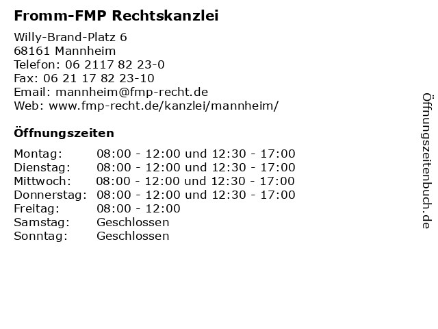 Fromm-FMP Rechtskanzlei in Mannheim: Adresse und Öffnungszeiten