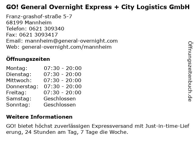 GO! General Overnight Express + City Logistics GmbH in Mannheim: Adresse und Öffnungszeiten