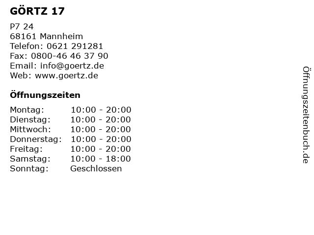 GÖRTZ 17 in Mannheim: Adresse und Öffnungszeiten