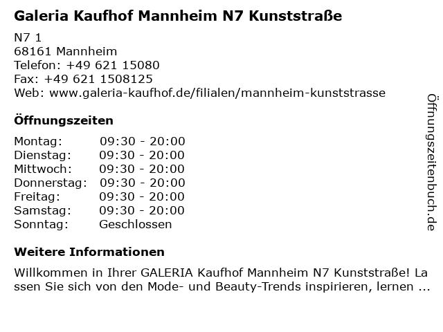 Galeria Kaufhof Mannheim N7 Kunststraße in Mannheim: Adresse und Öffnungszeiten
