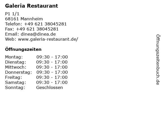 Galeria Restaurant in Mannheim: Adresse und Öffnungszeiten