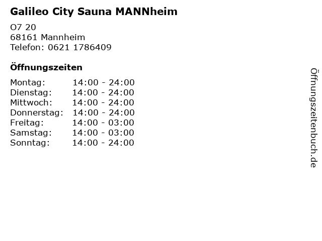 Galileo City Sauna MANNheim in Mannheim: Adresse und Öffnungszeiten