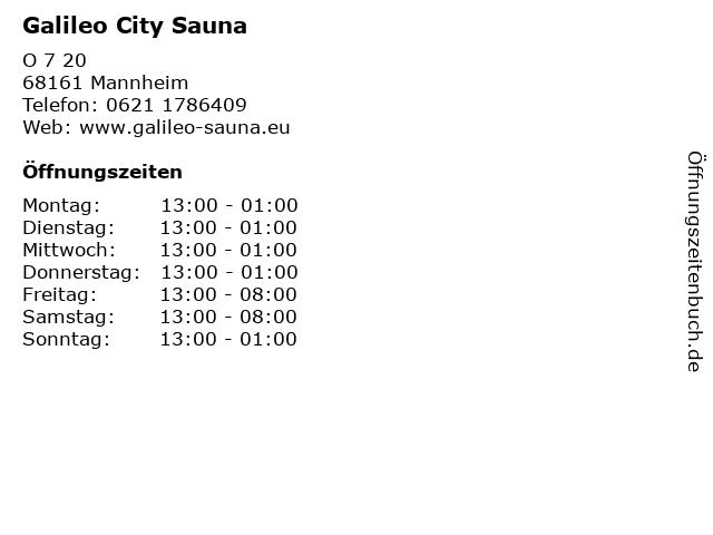 Galileo City Sauna in Mannheim: Adresse und Öffnungszeiten