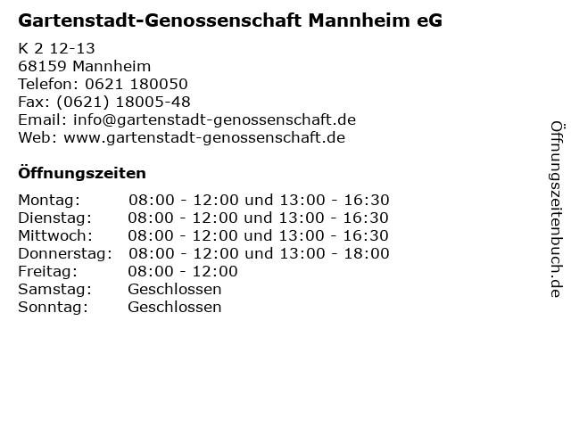 Gartenstadt-Genossenschaft Mannheim eG in Mannheim: Adresse und Öffnungszeiten