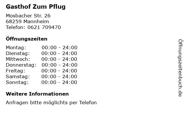Gasthof Zum Pflug in Mannheim: Adresse und Öffnungszeiten