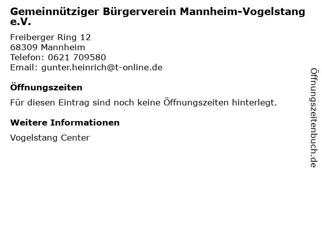 Gemeinnütziger Bürgerverein Mannheim-Vogelstang e.V. in Mannheim: Adresse und Öffnungszeiten