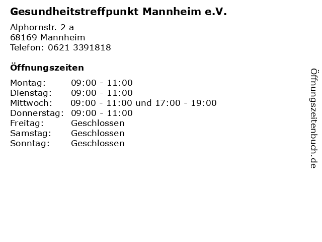 Gesundheitstreffpunkt Mannheim e.V. in Mannheim: Adresse und Öffnungszeiten