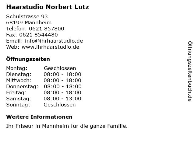 ᐅ öffnungszeiten Haarstudio Norbert Lutz Schulstrasse 93 In