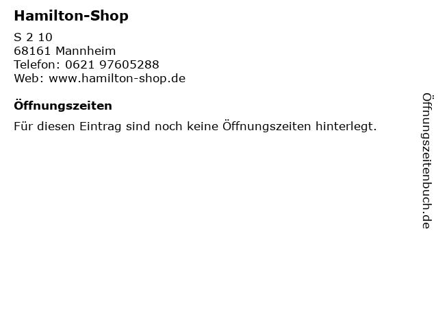 Hamilton-Shop in Mannheim: Adresse und Öffnungszeiten