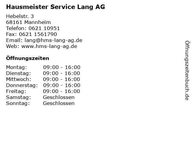 Hausmeister Service Lang AG in Mannheim: Adresse und Öffnungszeiten