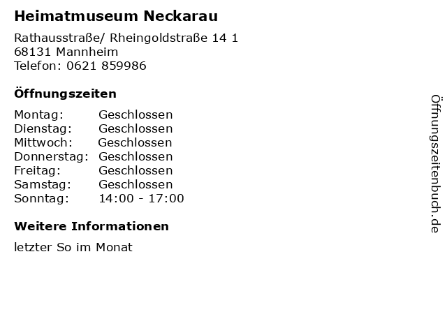 Heimatmuseum Neckarau in Mannheim: Adresse und Öffnungszeiten