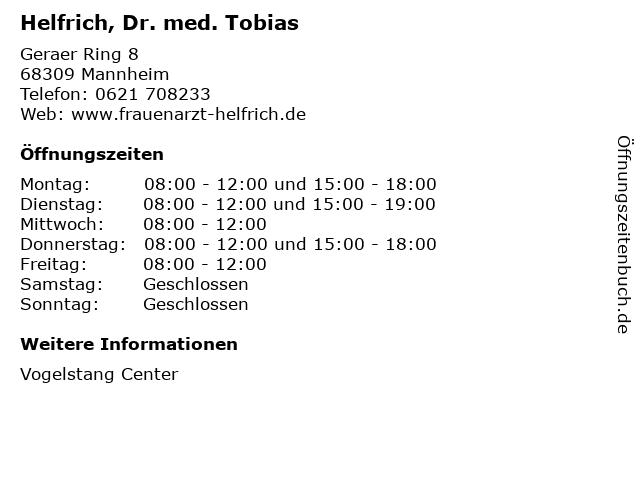 Helfrich, Dr. med. Tobias in Mannheim: Adresse und Öffnungszeiten