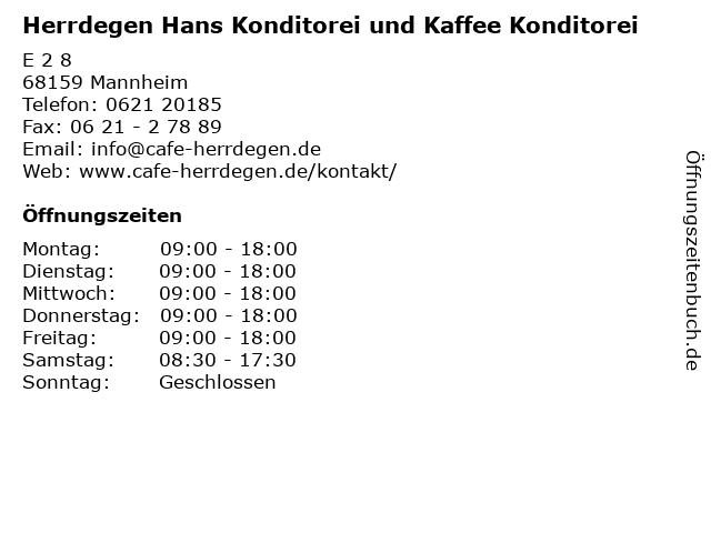 Herrdegen Hans Konditorei und Kaffee Konditorei in Mannheim: Adresse und Öffnungszeiten