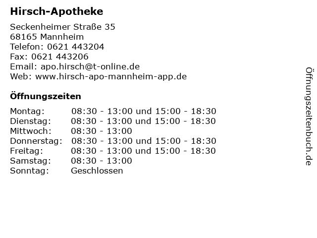 Hirsch-Apotheke in Mannheim: Adresse und Öffnungszeiten