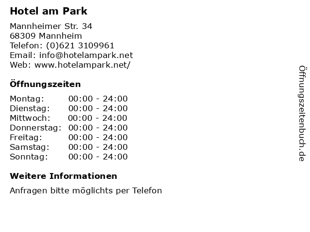Hotel am Park in Mannheim: Adresse und Öffnungszeiten