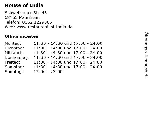 House of India in Mannheim: Adresse und Öffnungszeiten