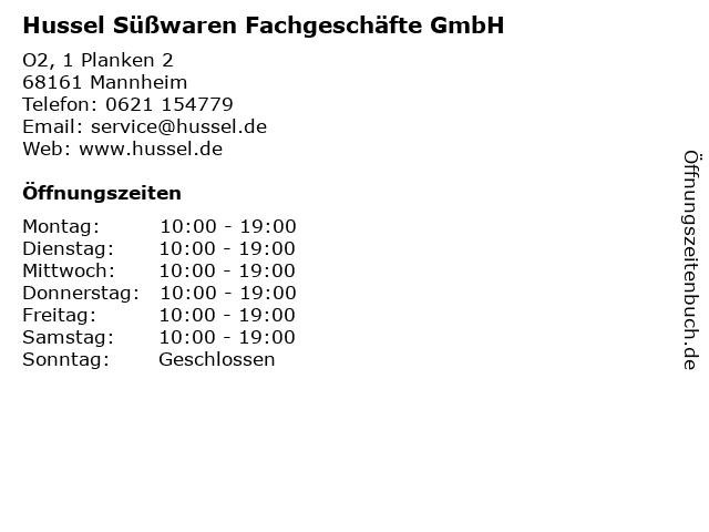 Hussel Süßwaren Fachgeschäfte GmbH in Mannheim: Adresse und Öffnungszeiten