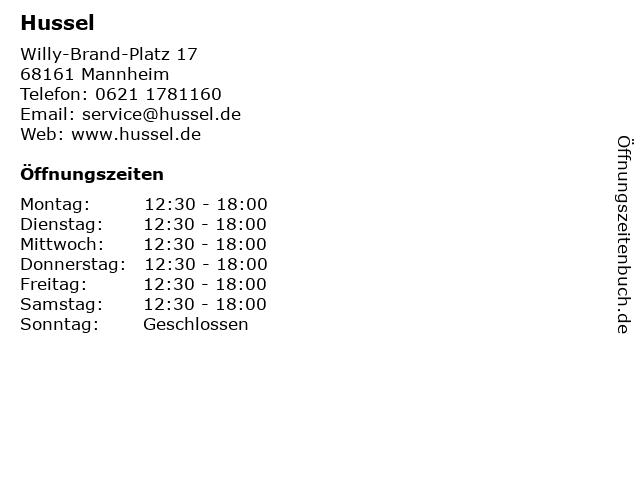 Hussel in Mannheim: Adresse und Öffnungszeiten