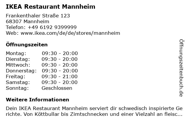 IKEA Deutschland GmbH & Co. KG (Restaurant) in Mannheim: Adresse und Öffnungszeiten