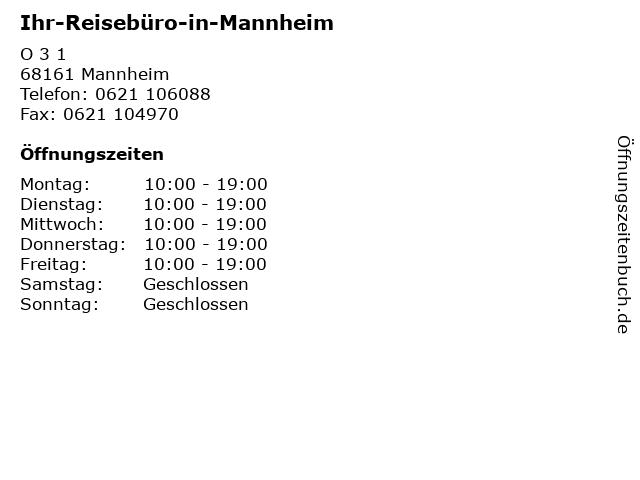 Ihr-Reisebüro-in-Mannheim in Mannheim: Adresse und Öffnungszeiten