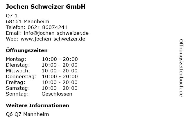 Jochen Schweizer GmbH in Mannheim: Adresse und Öffnungszeiten