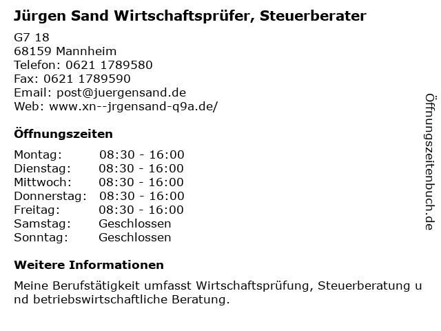 Wirtschaftsprüfer/Steuerberater Jürgen Sand - Bürozeiten in Mannheim: Adresse und Öffnungszeiten