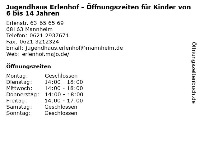 Jugendhaus Erlenhof - Öffnungszeiten für Kinder von 6 bis 14 Jahren in Mannheim: Adresse und Öffnungszeiten