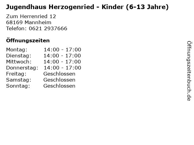 Jugendhaus Herzogenried - Kinder (6-13 Jahre) in Mannheim: Adresse und Öffnungszeiten