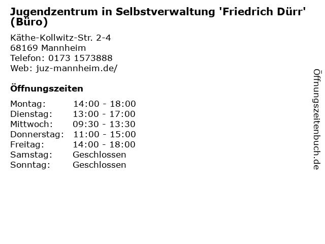 Jugendzentrum in Selbstverwaltung 'Friedrich Dürr' (Büro) in Mannheim: Adresse und Öffnungszeiten