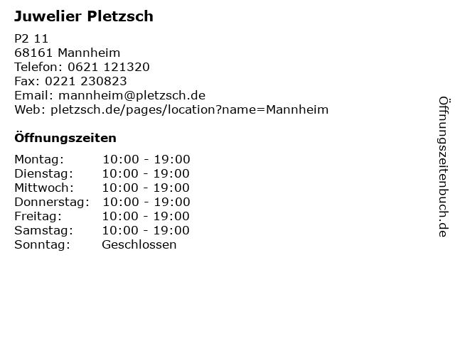 Juwelier Pletzsch in Mannheim: Adresse und Öffnungszeiten