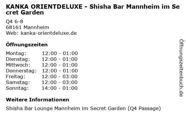 KANKA ORIENTDELUXE - Shisha Bar Mannheim im Secret Garden in Mannheim: Adresse und Öffnungszeiten