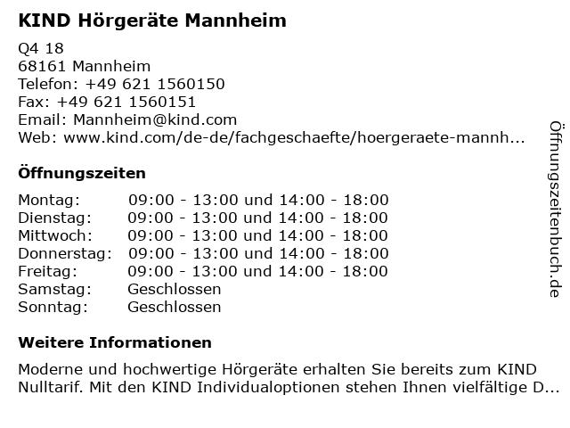 KIND Hörgeräte Mannheim in Mannheim: Adresse und Öffnungszeiten