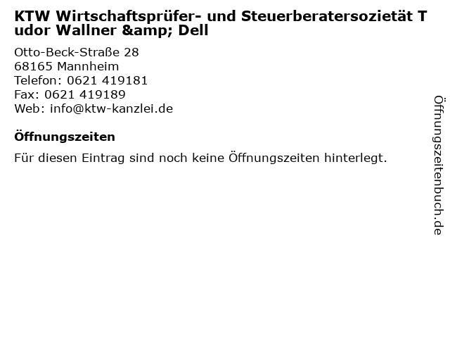 KTW Wirtschaftsprüfer- und Steuerberatersozietät Tudor Wallner & Dell in Mannheim: Adresse und Öffnungszeiten